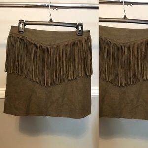Dresses & Skirts - Olive Suede Mini Fringe Skirt!